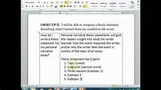Narrative Essay Thesis Examples Personal Narrative Thesis Statements Youtube