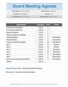 Board Agenda Template 10 Free Meeting Agenda Templates Word And Google Docs