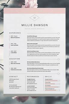 Free Creative Cv Template Download Word Millie Resume Cv Template Word Photoshop Indesign