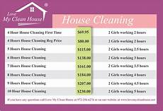 House Cleaning Price Guide May 2015 Www Lovemycleanhouse Net