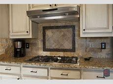 Elegant #backsplash for a traditional #kitchen: stone tile pattern   Traditional kitchen
