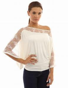 pattyboutik sleeve tops pattyboutik s lace one shoulder kimono sleeve top at