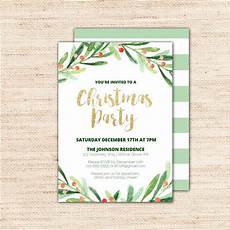 Printable Christmas Party Invitations Free Templates Holly Wreath Printable Christmas Party Invitation Template