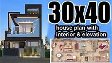 30x40 house plan with interior elevation complete