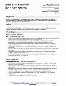 Objective For Resume Retail Retail Sales Supervisor Resume Samples Qwikresume
