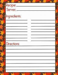 recipe card template onenote autumn recipe card and filler page by pumpkin beans