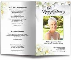 Funeral Memorial Book Template White Lilies Funeral Program Template Funeral Programs