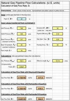 Gas Flow Rate Chart Excel Spreadsheet For Natural Gas Pipeline Flow Calculations
