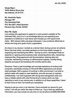 Clerical Cover Letter Sample Sample Clerical Cover Letter And Examples Writing Tips