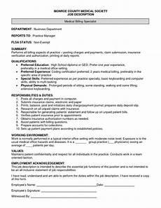 Medical Billing Job Description For Resume Spreadsheet Specialist Job Description Printable