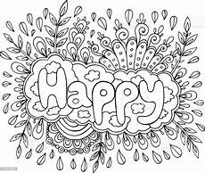 Mandala Malvorlagen Quotes Coloring Page For Adults With Mandala And Happy Word