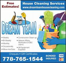 Cleaning Services Ads Dream Team House Cleaning Services Canpages