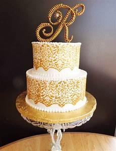 gold pearl wedding cake topper monogram wedding cake