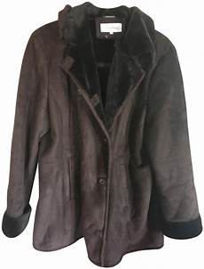 coats for size 16 calvin klein brown faux suede shearling coat size 16 xl