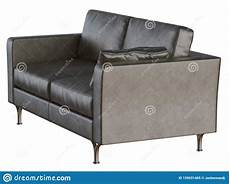 On Sofa Legs 3d Image by Two Black Leather Sofa With A Pillow With Iron Legs On A