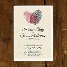Heart Images For Wedding Invitations Fingerprint Heart Wedding Invitation And Save The Date By