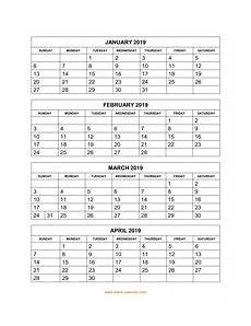 Calendar Template 3 Months Per Page Printable Calendar 2019 Free Download Yearly Calendar