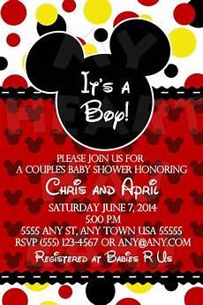 Custom Mickey Mouse Invitations Mickey Mouse It S A Boy Baby Shower Custom Printable