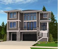 modern house plan for front sloping lot 85102ms