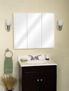 zenith m36 beveled tri view medicine cabinet frameless