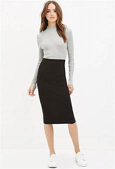 forever 21 ribbed knit midi skirt in black lyst