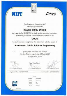 Niit Certificate Format Pdf Niit Cert
