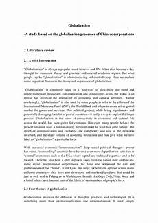 What Is Literture Review Literature Review Of Globalization Yanxing Doc