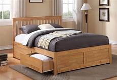 oak king size bed frame with 2 drawers king size