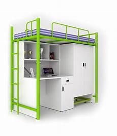 unicos jumbo bunk bed with study table in green frosty