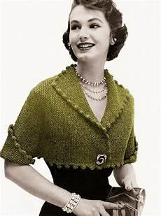 vintage knitting pattern 1950s pom pom cropped bolero