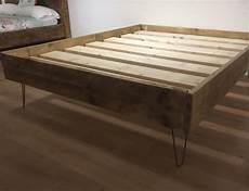 chunky rustic solid pine bed with hairpin legs newco