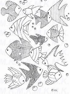 Ausmalbilder Fische Meer Ausmalbild Fischschwarm Meer Handgemalt