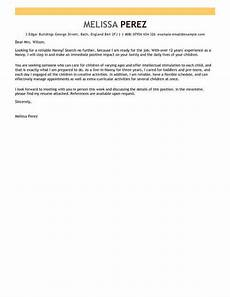 Cover Letter Examples For Nanny Position Nanny Cover Letter Template Cover Letter Templates
