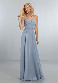 chiffon bridesmaids dress with draped v neck bodice and