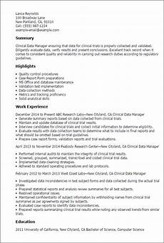 Clinical Trial Manager Resume Professional Clinical Data Manager Templates To Showcase