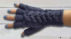 stricken handschuhe fingerless gloves with plaited cable part two the