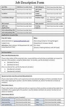 Employee Job Description Form Job Description Form Template Sample
