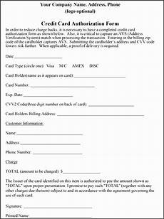 Pre Authorization Credit Card 7 Credit Card Authorization Form Template Word