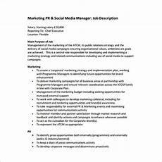 Advertising Executive Job Description 13 Marketing Manager Job Description Templates Free