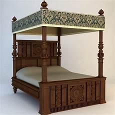 Vintage Canopy Bed Antique Canopy Bed 3d Model Max Obj 3ds Fbx Cgtrader