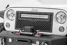 Jeep Grill With Lights Jeep Wrangler Jk Mesh Grille With Dual Row Led Light Bar