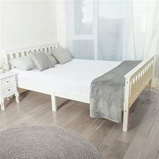 solid wooden bed frame in white home treats uk
