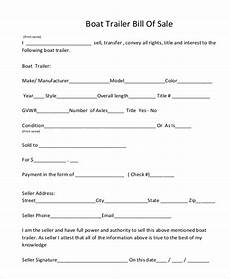 Sample Bill Of Sale For Trailer Free 9 Sample Trailer Bill Of Sale Forms In Pdf Ms Word