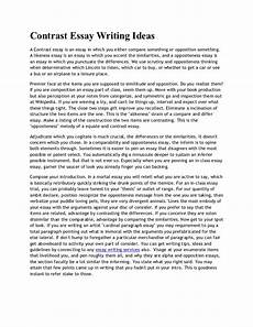 Examples Of Contrast Essays Contrast Essay Writing Ideas