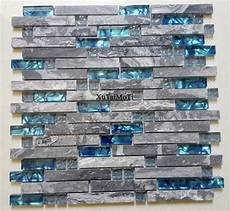 blue tile kitchen backsplash 11pcs gray marble mosaic blue glass tile kitchen