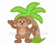 Monkey Design Monkey Palm Tree Tropical Applique Machine Embroidery Design