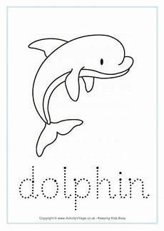 Animal Patterns To Trace Dolphin Worksheets