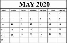 Monthly Calendar Template 2020 Word Free May Calendar 2020 Printable Blank Editable Word Excel