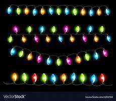 Christmas Black Light Drama Strings Of Holiday Lights On Black Background Vector Image