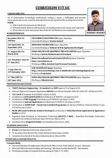 Cv Or Resume Sample Curriculum Vitae